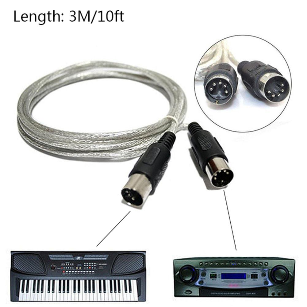 midi-extension-cable-male-to-male-five-pin-music-editing-cable-electronic-piano-cable-3-meters-high-quality-fast-delivery