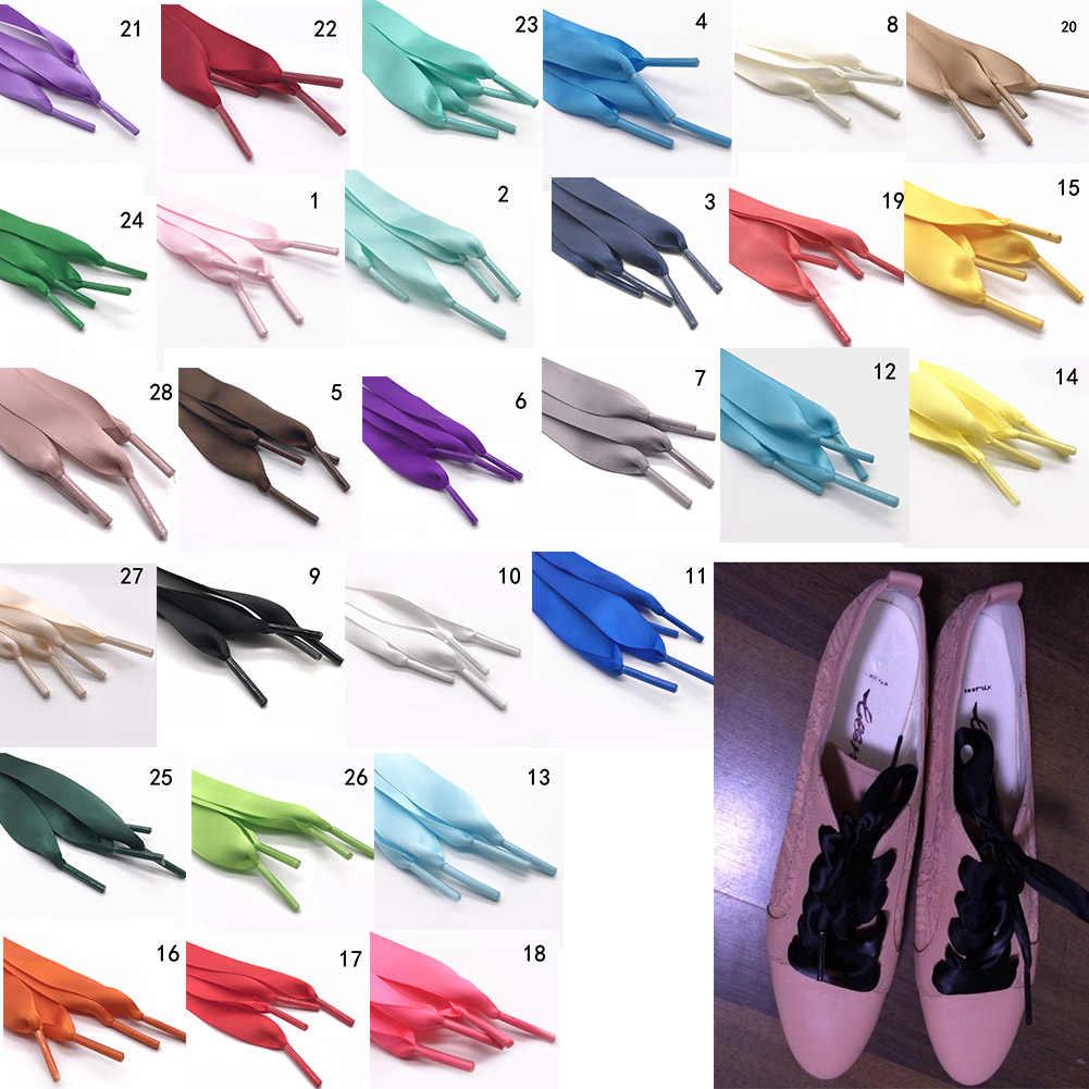 1 คู่ 2 ซม.ผ้าไหมซาติน Shoelaces รองเท้าริบบิ้น Laces รองเท้าผู้หญิงรองเท้าผ้าใบรองเท้าลูกไม้ 26 สีความยาว 120 ซม.