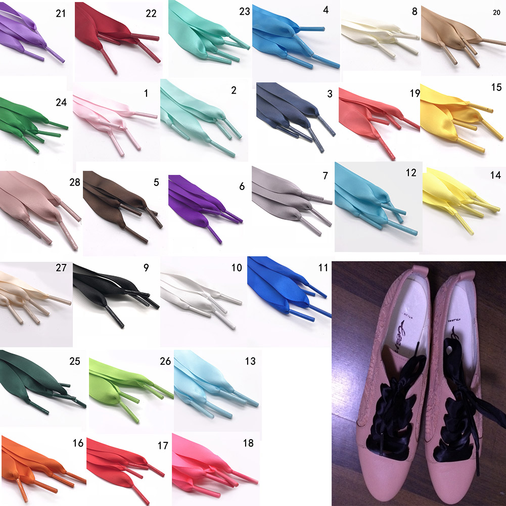 1 Pair 2 Cm Width Silk Satin Shoelaces Ribbon Shoe Laces Boots Women Sneakers Shoe Lace 26 Colors Length 120CM