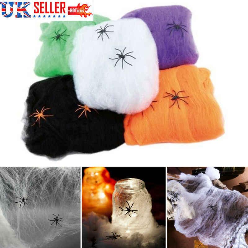 Putih Elastis Jaring Laba-laba Spider Web Horor Halloween Dekorasi untuk Bar Rumah Berhantu Halloween Menakutkan Adegan Pesta Alat Peraga