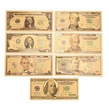 7 billetes de banco de oro americano chapado en oro papel dinero para colección 15*7 cm/5,91 * 2.76in
