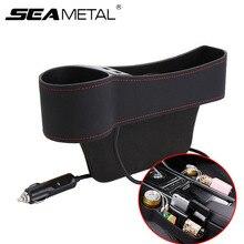 سيارة المنظم مقعد الفجوة صندوق جلد مقعد السيارة الفجوة المنظم 2 USB سيارة تخزين جيب السيارات شق حقيبة للتخزين ل تستيفها tidie