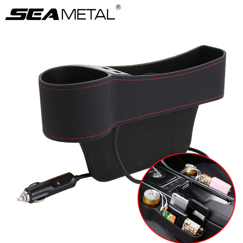 Car Organizer Seat Gap Box Leather Car Seat Gap Organizer 2 USB Car Storage Pocket Auto Crevice Storage Case for Stowing Tidying title=