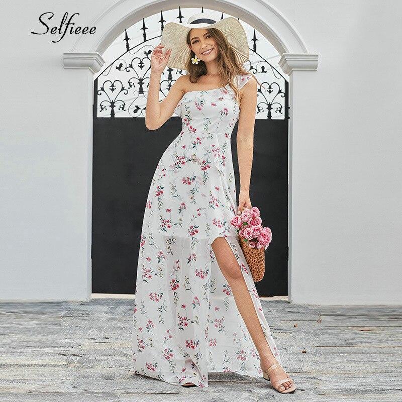 Seksi çiçek baskılı Maxi elbise kadınlar A-Line tek omuz Ruffles yan bölünmüş yeni moda plaj elbise bayanlar Casual Streetwear