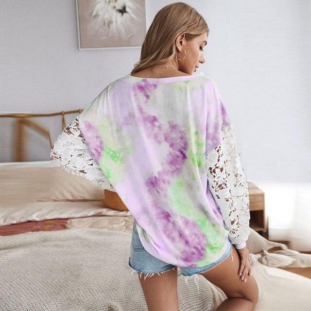 Купить повседневная женская футболка кружевной лоскутный пуловер с картинки цена