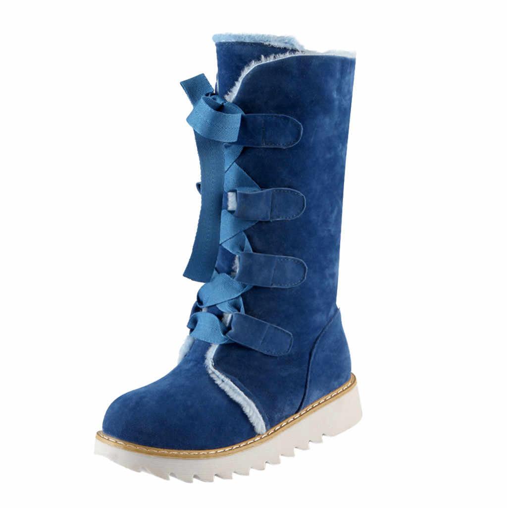 Botas de leopardo para mujer moda Casual Color puro punta redonda encaje plano Vintage talla grande botas de nieve para mujer femme