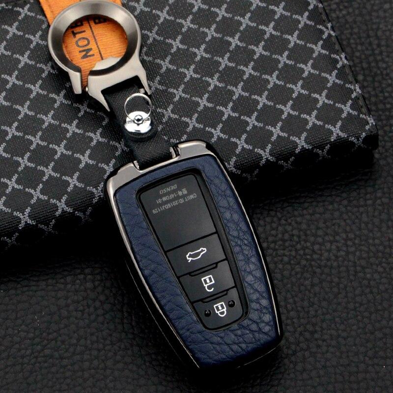 cow Leather Car key cover 2/3/4 Button keyless Case For Toyota Camry CHR Prius Corolla RAV4 Prado 2017 2018 2019 keychain House