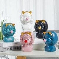 Скандинавский стиль Catgirl мыльные пузыри гидропоника ваза для цветов Смола человеческое лицо Искусство Цветочный орган Wter посадка ручной ра