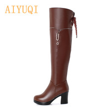 AIYUQI Womens Boots Thigh High Genuine Leather Rhinestone Platform Heel Black Women Winter Riding