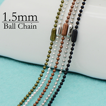 50 pcs- 1.5mm Bead Chain Necklace, 1.5mm Bead Necklace, 1.5mm Bead Chain 24'' -  Silver Plated, Bronze, Copper, Steel, Gun Metal цена 2017
