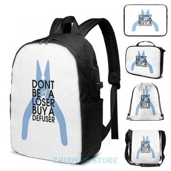 Counter strike Don't be a loser buy a defuser USB Charge Backpack men School bags Women bag Travel laptop bag