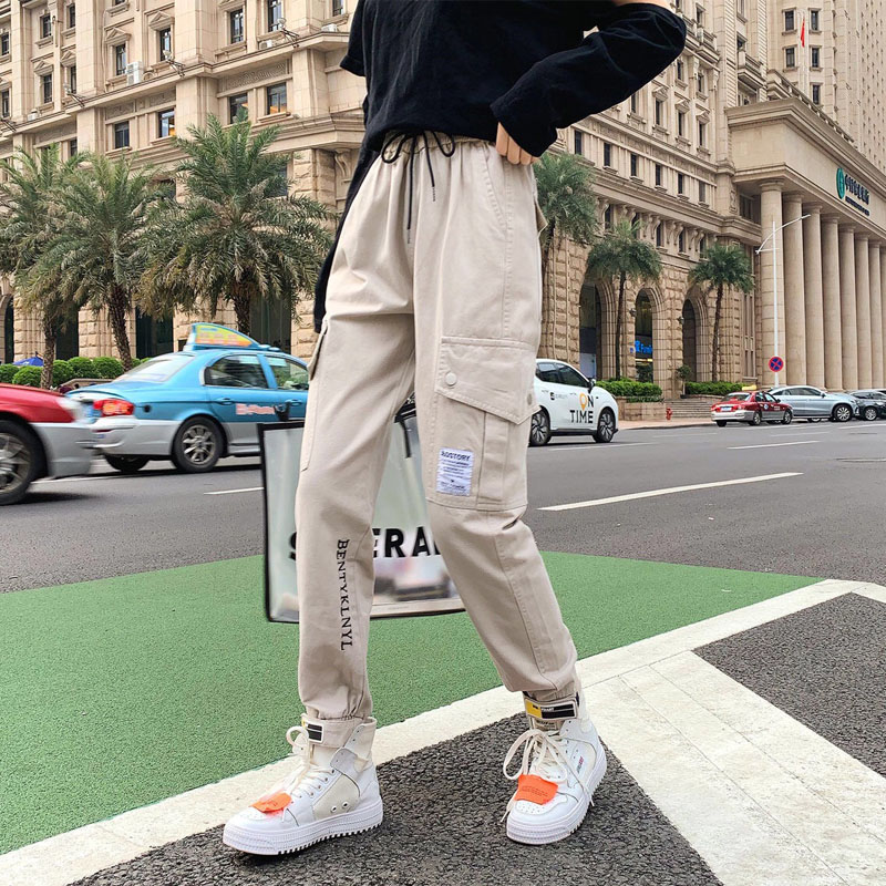 Women Drawstring Cargo Pants Female Fashion Elastic Waist Streetwear Trousers Plus Size Ladies Casual Breathable Jogging Pants