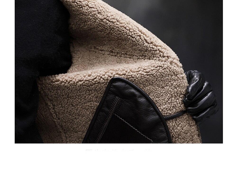 H441f0f7c6571449d9df616a52a6d718b6 2019 Fashion 100% Quality Real Sheepskin Fur Men Coat Genuine Full Pelt Sheep Shearling Male Winter Jacket Brown Men Fur Outwear