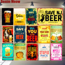 Save Water Drink Beer Plaque Metal Vintage Pub Bar Club Home Decor Yard Party Wall Stickers Aphorisms Tin Signs MN142