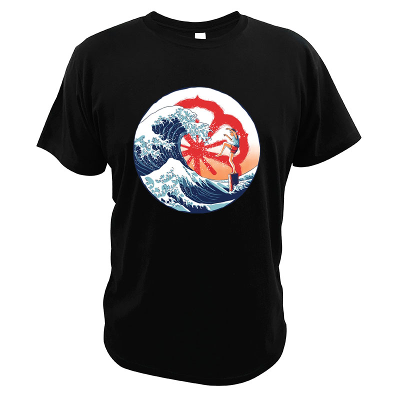 The Karate Kid Movie T Shirt The Great Wave Off Kanagawa Tees Daniel Larusso Crane Kick Japanese Film EU Size T Shirt image