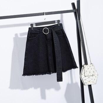 COIGARSAM 5XL Plus Size Loose Women Denim Skirt High Waist Skirts Blue Black G902 pinkwin blue 5xl