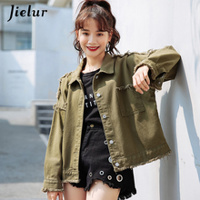 Jielur Autumn 5 Colors Denim Women Bomber Jacket Solid Color Hipster Pockets Female Streetwear BF Jean Coat Dropship