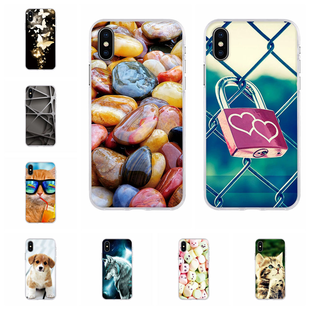 Silicone Soft Cover For Apple <font><b>iPhone</b></font> X XS TPU Cute Pattern Print Back For <font><b>iPhone</b></font> 10 Coque For <font><b>iPhone</b></font> X A1901 <font><b>A1865</b></font> Phone Fundas image