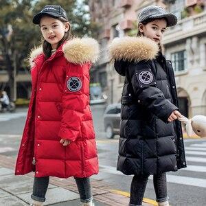 Image 1 - 2020 חורף חם ילדה למטה מעילים ארוך עיצוב ילדים למטה מעיילי מעיל אמיתי פרווה ילדי נער עבה למטה הלבשה עליונה 30 תואר