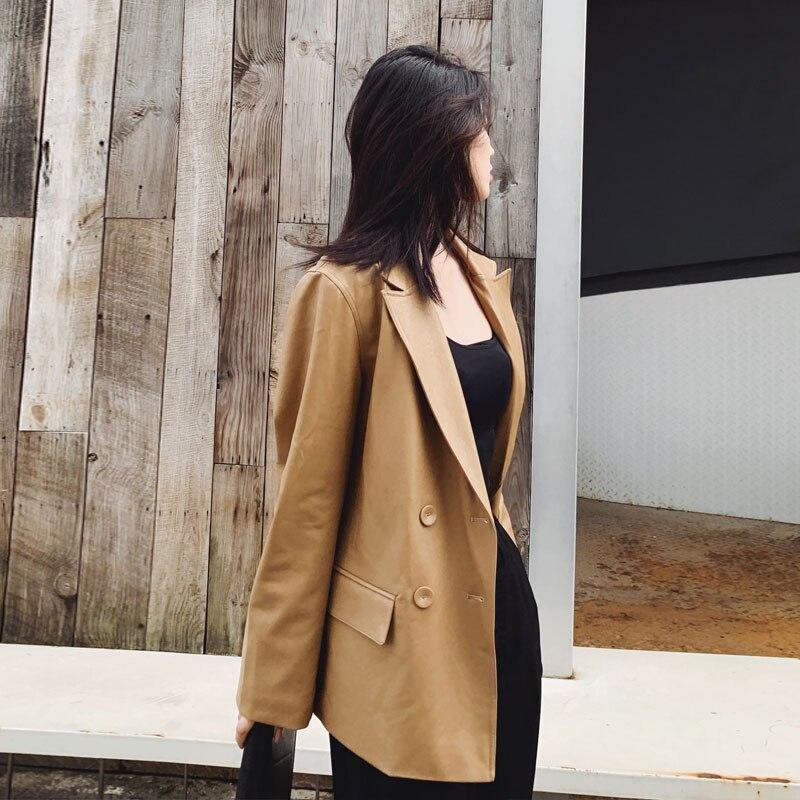 [EAM] Loose Fit Khaki Pu Lether Big Size Bandage Jacket New Lapel Long Sleeve Women Coat Fashion Tide Spring Autumn 2020 5
