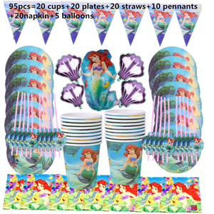 Image 5 - 110Pcs 20 คนHappyวันเกิดMermaid Ariel Girls Baby Shower Partyตกแต่งแบนเนอร์ตารางผ้าหลอดถ้วยแผ่นผู้ผลิต