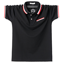 Mens Polos Breathable Cotton Short Sleeve Boys Polo Shirts Summer Casual Turndown Collar Patchwork Male Polo Stripe Design 5XL