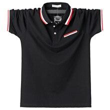 Polos masculinos de algodão respirável manga curta meninos polo camisas verão casual turndown collar retalhos masculino polo stripe design 5xl