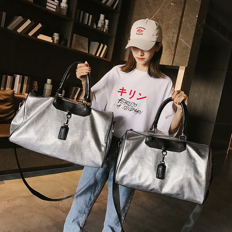 Travel Bag Ladies PU Leather Korean Version Of The Large Bag Casual Handbags Lightweight Fitness Trend Wild Color Fashion