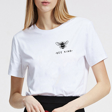 Bee Kind Pocket Print Tshirt Women Tumblr Save The Bees Graphic Tees Plus Size T Shirts Cotton O-Neck Tops Drop Shipping