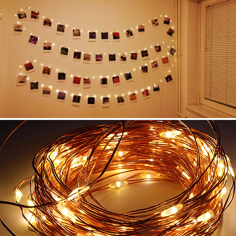 10M Photo Clip USB LED String Lights Fairy Lights Outdoor Battery Operated Garland Christmas Decoration Party  (29)