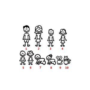 Image 5 - מותאם אישית קריקטורה בני משפחה רכב מדבקת מדבקות מקל רכב סטיילינג רכב קישוט