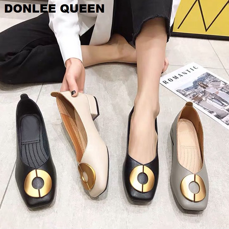 New Spring Flats Casual Shoes Women Low Heel Square Toe Shallow Ballet Female Boat Shoes Slip On Loafer Brand Round Buckle Shoes
