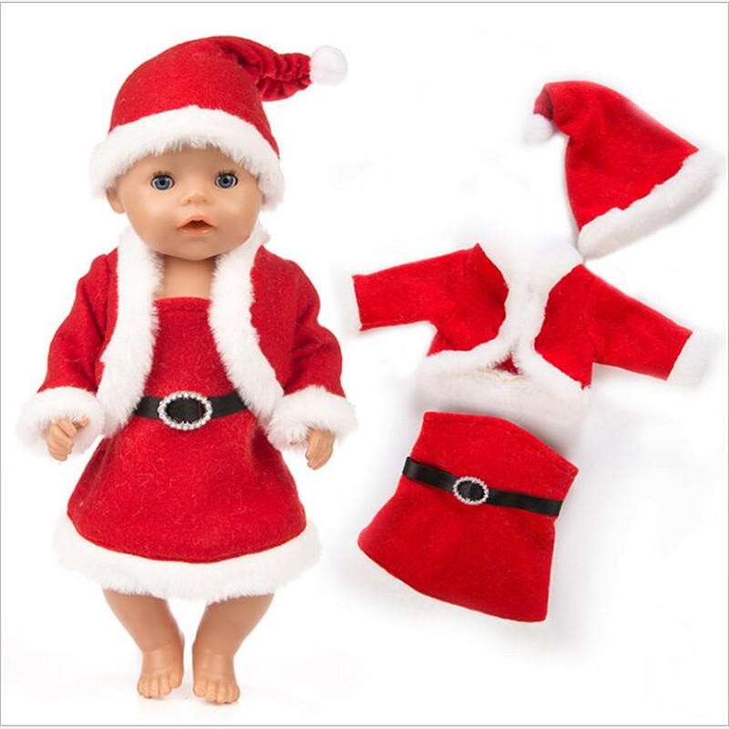 Fit 18 Inch 40-43cm Born New Baby Doll Clothes Red Three-piece Fluffy Shawl Christmas Dress Suit Accessories For Baby Gift