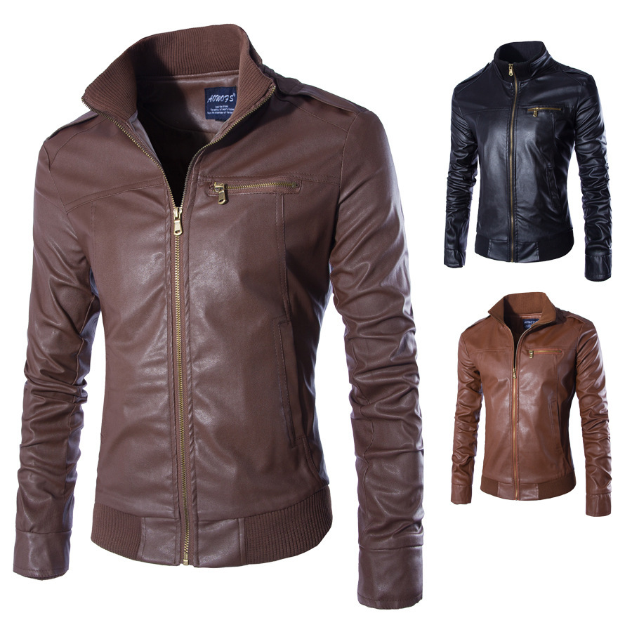 Perennial Goods For Men'S Wear Trend Stand Collar Leather Jacket-Style Slim Fit MEN'S Leather Coat Y037