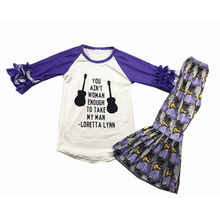 Popular Style Children Clothing Raglan Top Bell Bottoms Baby Girls Outfits