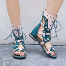 Mixed Color Rivets Studded Women Gladiator Sandals Outside Casual Flat Shoes Woman Hollow Out Lace-up Flats Summer Shoes