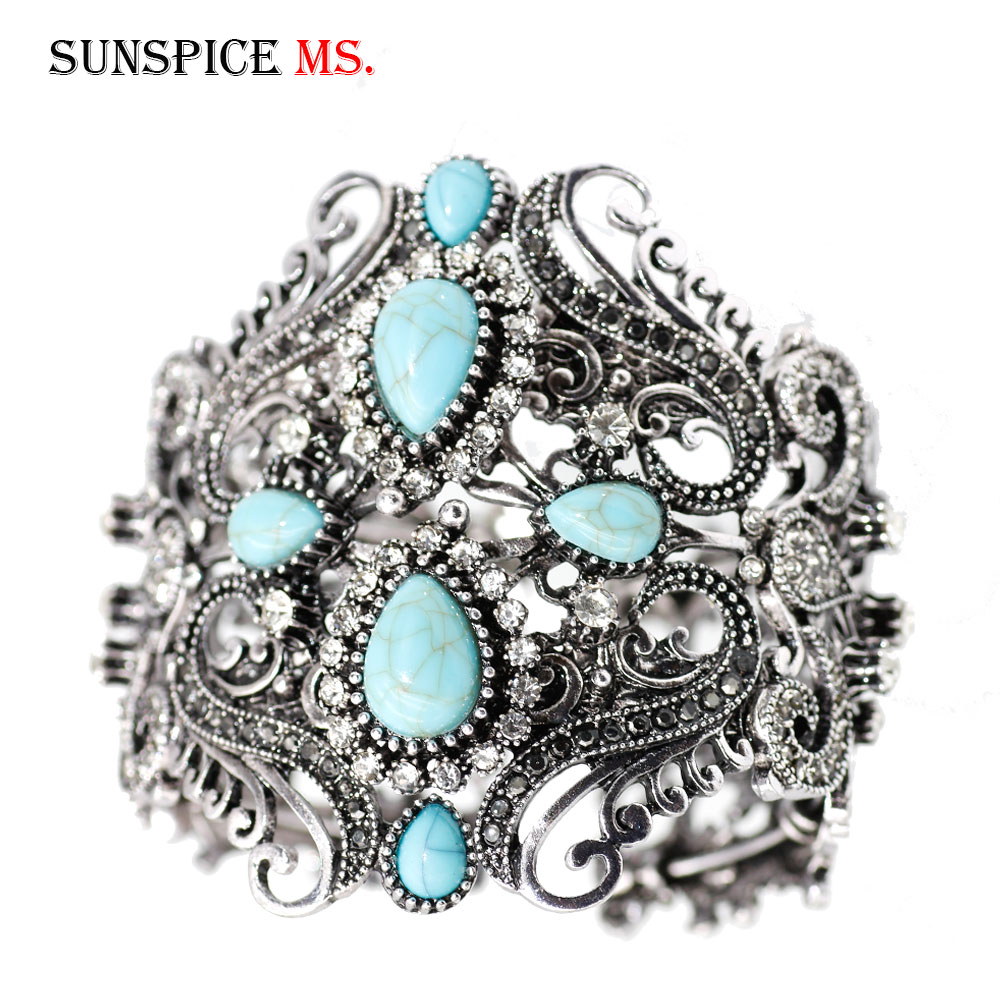 SUNSPICE-MS Vintage Resin Bangles Cuff Gelang untuk Wanita Turki Antique Warna Emas Bangle Indian Retro Perhiasan Wrist Joyas