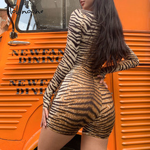 Bodycon Catsuit Turtle-Neck Tiger-Pattern Romper Long-Sleeve Sexy One-Piece Tobinoone