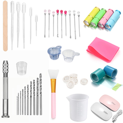 Epoxy Resin Tools Set Silicone Workbenches Plastic Beaker Drilling Bits Sticks Disposable Cup Dispenser for Jewelry Making Tools