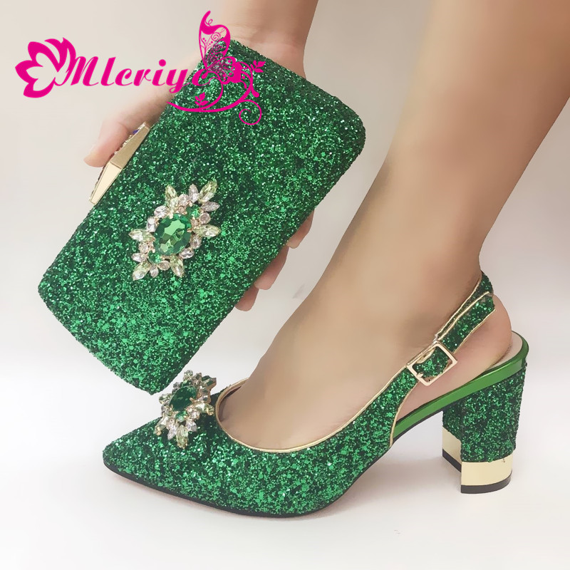 Nigerian Style Shoes and Bag Set Decorated with Rhinestone Women Shoes High Heel Italian Ladies Shoes and Bags To Match Set