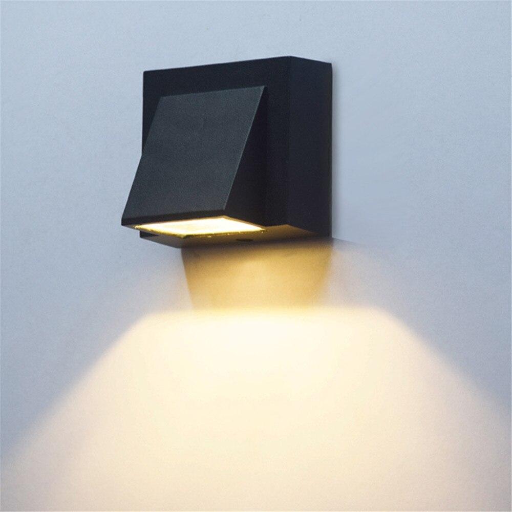 Zarif tasarım led duvar lambası tek kafa 5W 10W COB sundurma duvar aplik ışık kapalı açık peyzaj aydınlatma AC110 220V