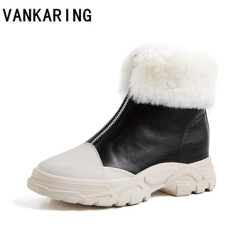 cotton shoes female leather women's ankle boots winter plus velvet thick soled warm snow women's platform sneakers cotton flats