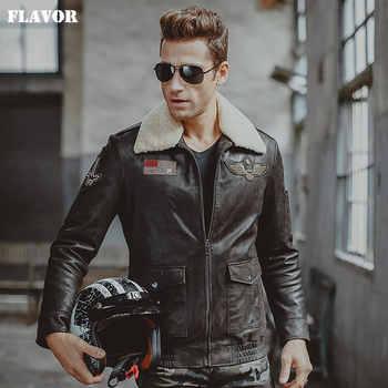Men's real leather jacket air force flight jackets pigskin Genuine Leather Aviator jackets motorcycle coat men biker jacket - DISCOUNT ITEM  55% OFF All Category