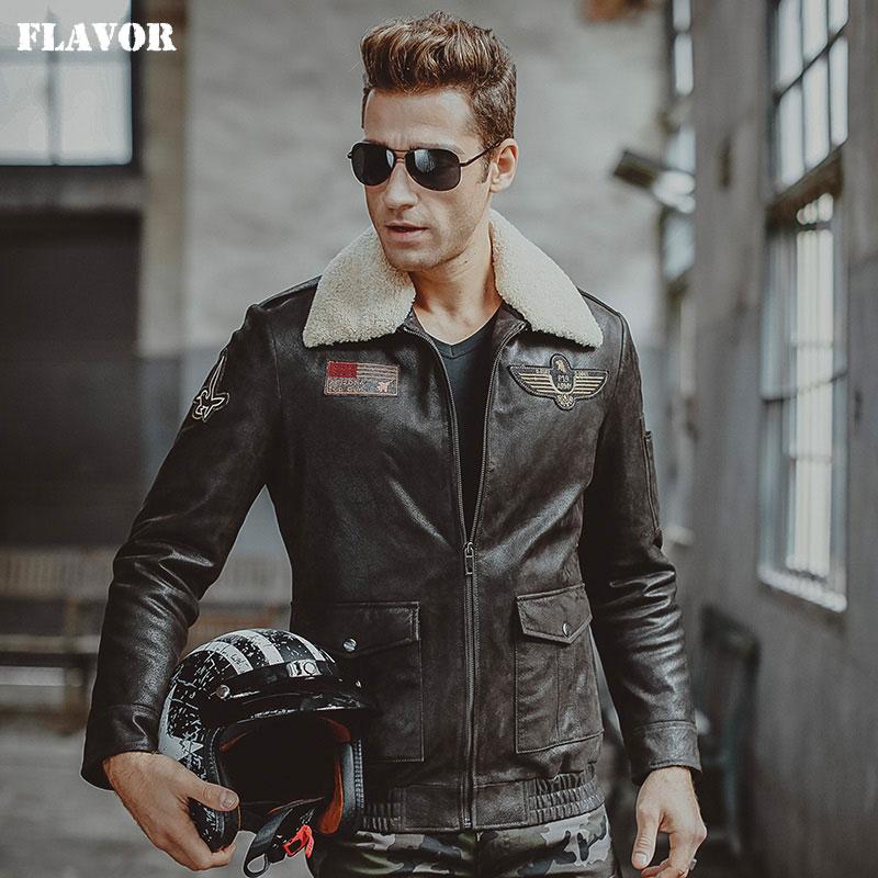 ชายเสื้อแจ็คเก็ตหนังแท้ air force เที่ยวบินแจ็คเก็ต pigskin ของแท้หนัง Aviator แจ็คเก็ตรถจักรยานยนต์เสื้อ biker jacket-ใน เสื้อโค้ทหนังแท้ จาก เสื้อผ้าผู้ชาย บน   1