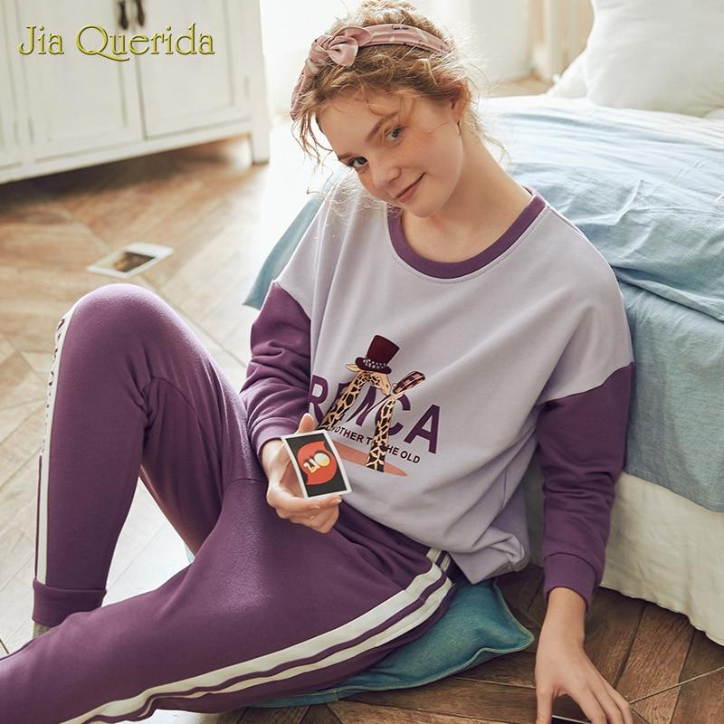 Image 3 - Nouveau printemps pyjama ensemble dessin animé impression grande taille vêtements de détente femmes col rond Pijamas femmes Homesuit Homeclothes Pjs femmes Pj ensembleEnsembles de pyjama   -