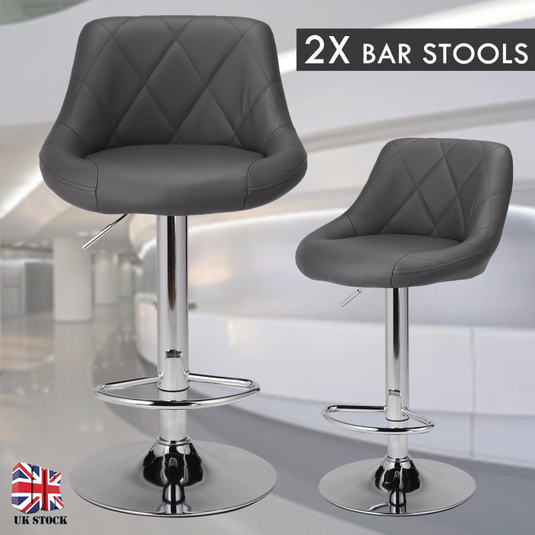 2Pcs Fashion Adjustable Lifting Pub Bar Chair PU Leather Swivel Bar Stools Modern Kitchen Living Room Chairs Home Accessories
