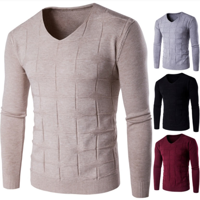 Men's V Neck Solid Designer Sweaters Plus Sizes Pullovers Men Casual Jacquard Jumper For Fall Winter 2019 Black Grey Red Beige