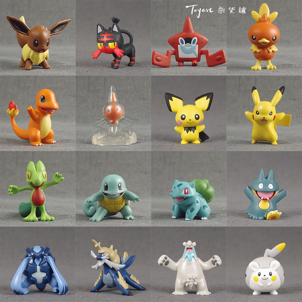TAKARA TOMY Pokemon Pikachu Bulbasaur Charmander Eevee Litten Rotom Snorlax Anime Action & Toy Figures Model Toys For Children