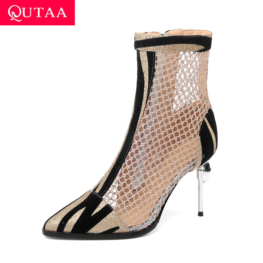 QUTAA 2020 Thin High Heel Ladies Shoes Sexy Pointed Toe Ankle Boots Patchwork PU Leather Mesh Zipper Women Pumps Big Size 34-43