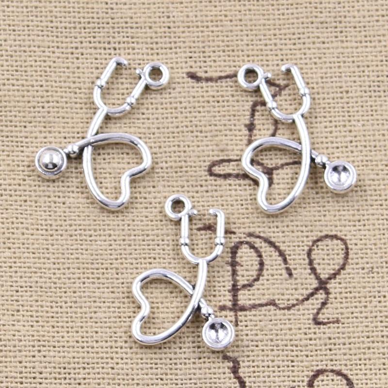 15pcs Silver Doctor Stethoscope Pendants Charm for Bracelet Necklace DIY Jewelry